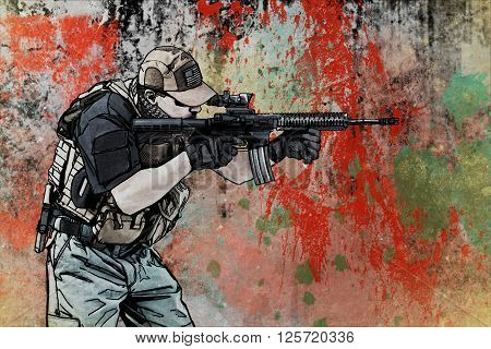 Private military contractor PMC. A hand drawn image in the comic book style