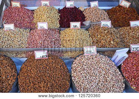Various Nuts in Bulk at Farmers Market