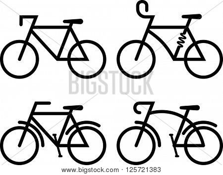 Bicycle Icon Set Vector Illustration