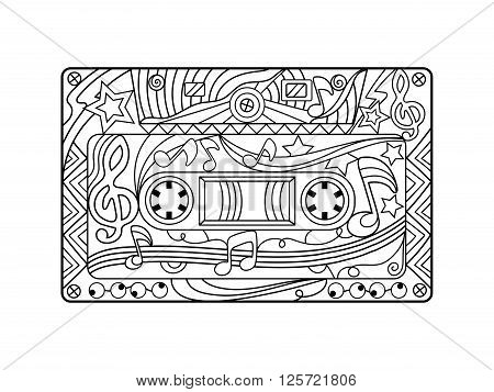 Audio cassette coloring book for adults vector illustration. Anti-stress coloring for adult. Zentangle style. Black and white lines. Lace pattern