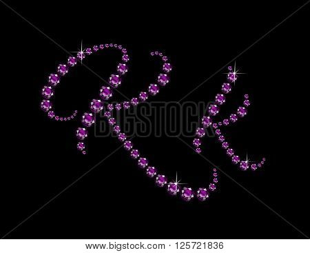 Kk in stunning Amethyst Script precious round jewels isolated on black.