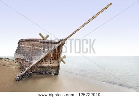 A view of shipwreck at sea shore