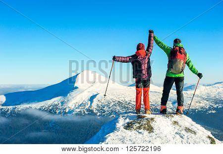 Tourist reaches the top of mountain peak. Climbing and mountaineering sport. Nepal mountains.
