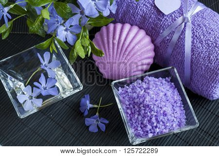 Lavender Bath Salts With Flowers, Soap And Towel