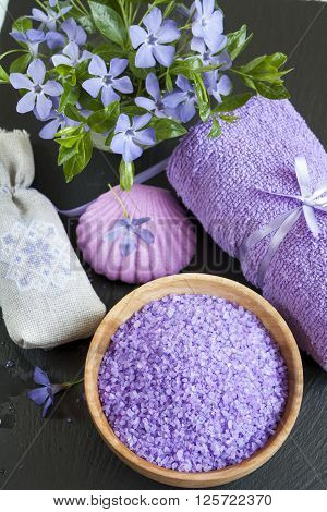 Lavender Bath Salts With Flowers, Soap, Sachet And Towel