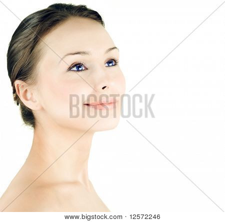 Beautiful Young Woman face over white