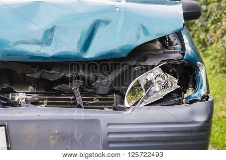 Detail of a Crashed car accident, need assistance and insurance support