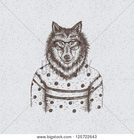 Hipster wolf dressed in the blouse.Handmade work.Typography design for t-shirts
