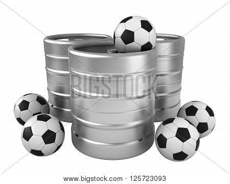3d rendering of beer kegs and soccer balls isolated over white background