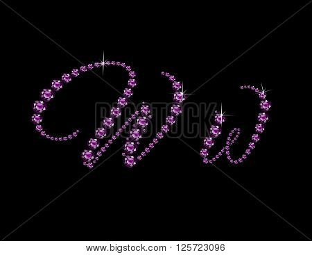 Ww in stunning Amethyst Script precious round jewels isolated on black.