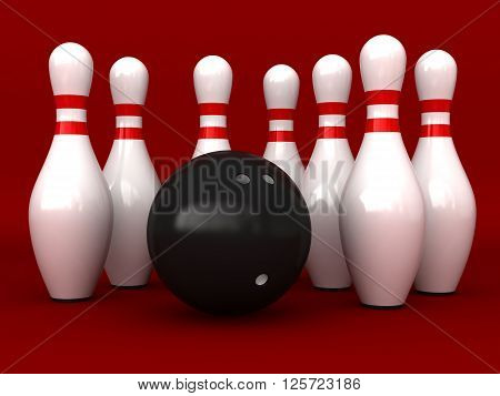 3d rendering of bowling pins and ball over red background