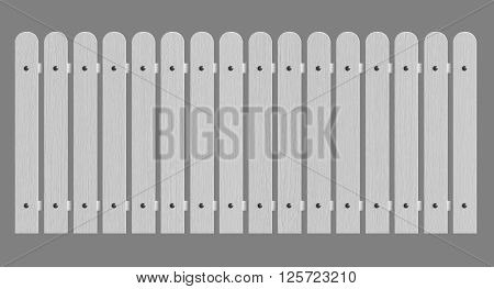 3d rendering of white wooden fence isolated over grey background