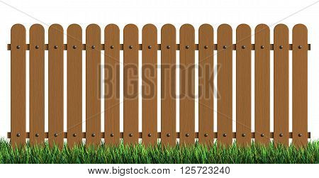 3d rendering of wooden fence with grass isolated over white background
