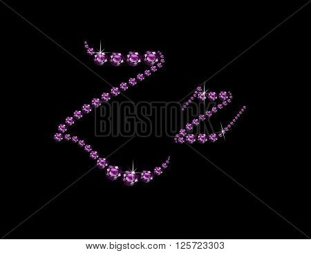 Zz in stunning Amethyst Script precious round jewels isolated on black.