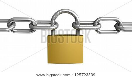3d rendering of padlock and chain isolated on white background