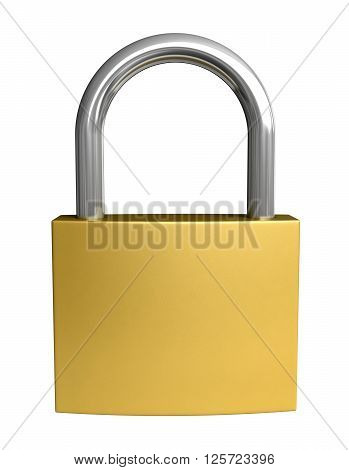 3d rendering of padlock isolated on white background