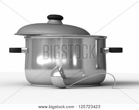 3d rendering of saucepans and ladle on white background