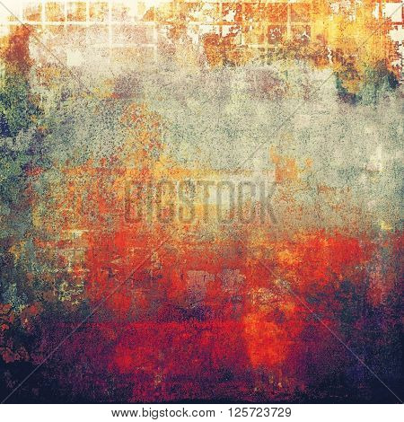 Retro style abstract background, aged graphic texture with different color patterns: yellow (beige); brown; green; purple (violet); red (orange); gray