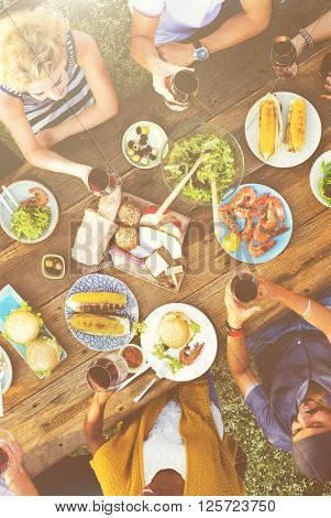 Friends Bonding Celebration Food and Beverages Picnic Concept