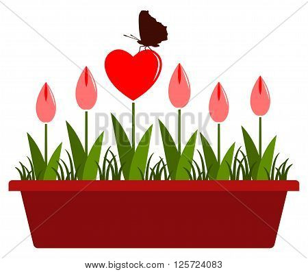 vector heart flowers with butterfly in planter isolated on white background