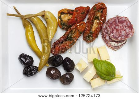 closeup of mixed italian antipasti on a plate