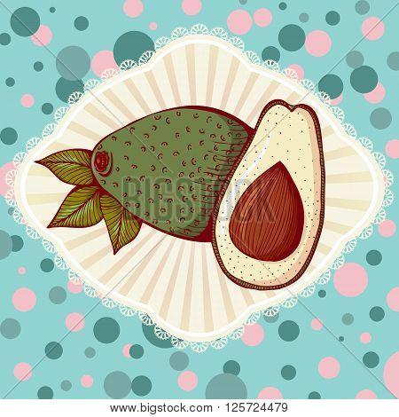 Whole and half avocado. Vector illustration in retro style. Design for cookbook or Vegetarian menu