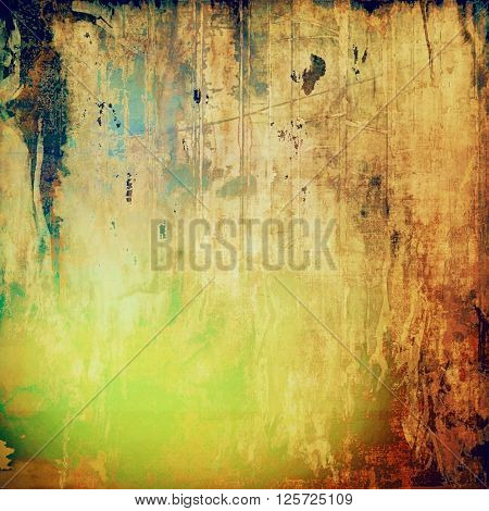 Highly detailed scratched texture, aged grungy background. Vintage style composition with different color patterns: yellow (beige); brown; green; blue; red (orange)