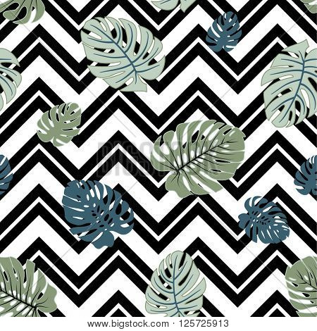 Abstract tropical monstera leaves seamless background