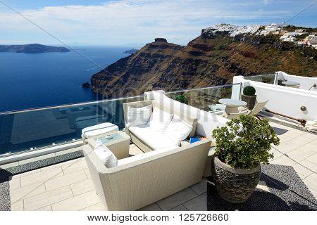 The sea view terrace Santorini island Greece