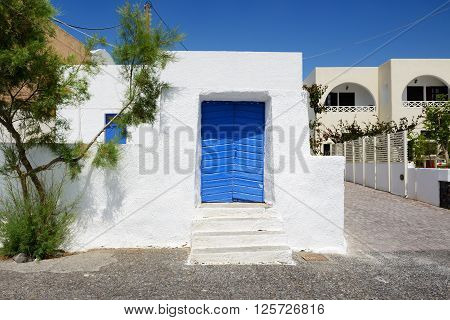 The old building in traditional Greek style Santorini island Greece