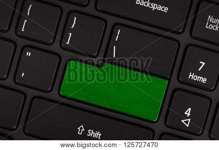 Laptop Computer Keyboard With Blank Green Button