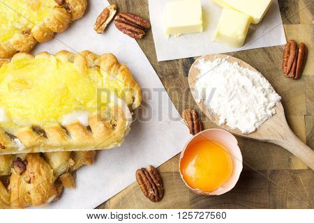 Maple and Pecan Plait Danish Pastries, Custard pastries and ingredients for pastries