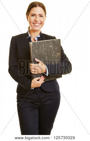 Smiling happy business woman holding folders in her arms