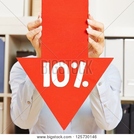 Red arrow with 10% discount being held by female hands