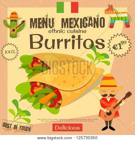 Mexican Menu. Burritos. Mexican Traditional Food. Vintage Style. Vector Illustration.