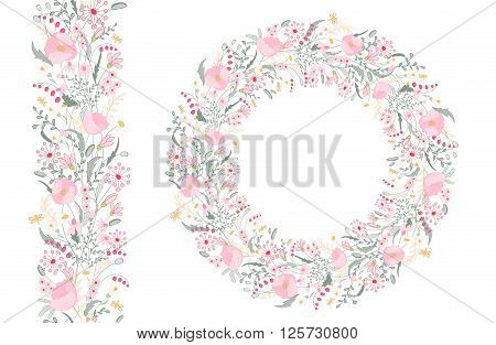 Floral spring elements with cute bunches of poppy and wild spring flowers. Endless pattern brush. For romantic and wedding design announcements greeting cards posters advertisement.