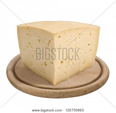 Montasio, italian cheese, on wooden plate, isolated