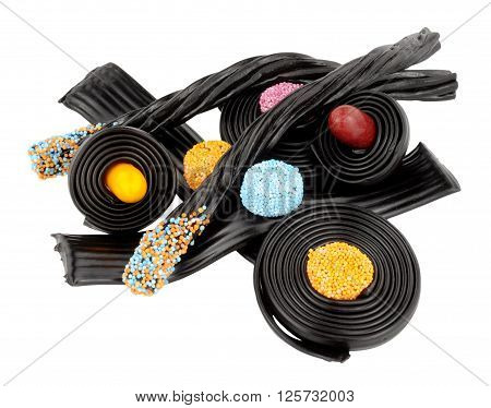 Assortment of traditional novelty liquorice candy isolated on a white background