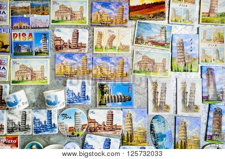 Souvenir magnets shows the leaning tower of Pisa