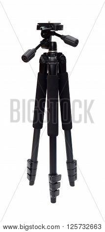 Black photo tripod isolated on white background