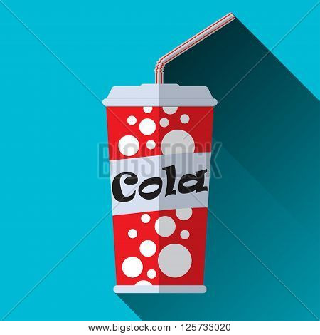 Cup of cola with tube disposable glass of cola cola sign flat design with long shadow vector