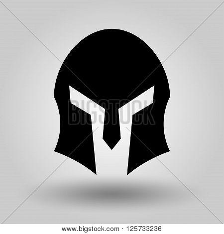 Spartan Helmet full face silhouette symbol of gladiator soldier or greek warrior or roman legionary helmet hero sign vector