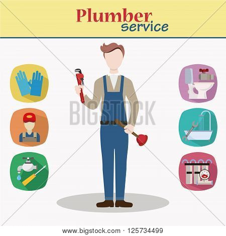 Plumber male character standing holding plumber wrench and tool Young man in workwear plumbing professional person ready for work, flat design isolated. Plumber service icons.