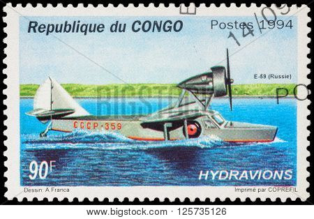 MOSCOW RUSSIA - APRIL 12 2016: A stamp printed in Congo shows Russian seaplane E-59 series