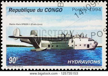 MOSCOW RUSSIA - APRIL 12 2016: A stamp printed in Congo shows American long range ocean patrol flying boat Martin Mars XPB2M-1 series