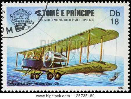 MOSCOW RUSSIA - APRIL 14 2016: A stamp printed in Sao Tome and Principe shows Vickers Vimy biplane during the first transatlantic flight (1919) series