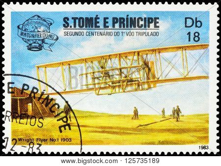 MOSCOW RUSSIA - APRIL 14 2016: A stamp printed in Sao Tome and Principe shows aircraft first flight of the Wright brothers (1903) series