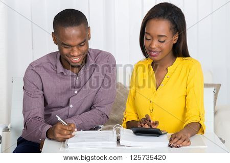 Couple Calculating Bill