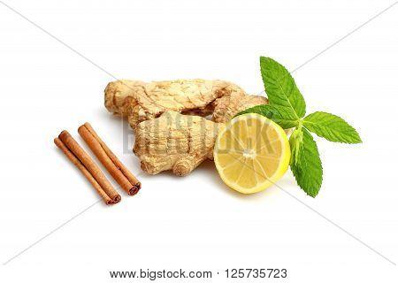 Ginger lemon honey mint leaves on white background.