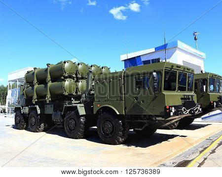 MOSCOW REGION  -   JUNE 17: Mobile coastal missile system equipped with cruise missiles -  on June 17, 2015 in Moscow region